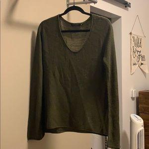 Hunter Green Bell Sleeve Sweater